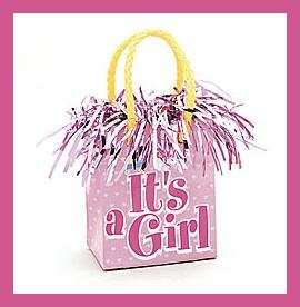 It's a Girl gift bag Balloon Weight party supplies
