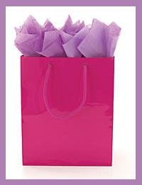 Solid color Hot Pink gift bag wrap supplies with tag