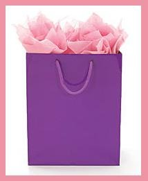 Solid Purple gift tote bag wrap supplies with tag