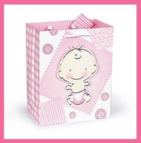 It's a Girl Buttons & Bows baby shower gift bag with tag
