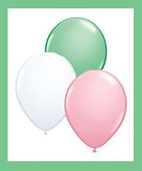 Latex Party Balloons - 12ct - Pink, Green, White
