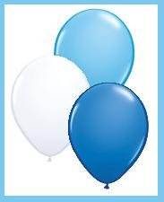 Latex Balloon Assortment - Blue/Light Blue/White (12ct)