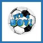 It's a Boy soccer ball baby shower balloon supplies