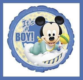 Mickey Mouse Disney It's a Boy baby shower balloons