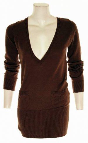 Brown Deep V-Neck Long Sweater S Small M Medium Large L