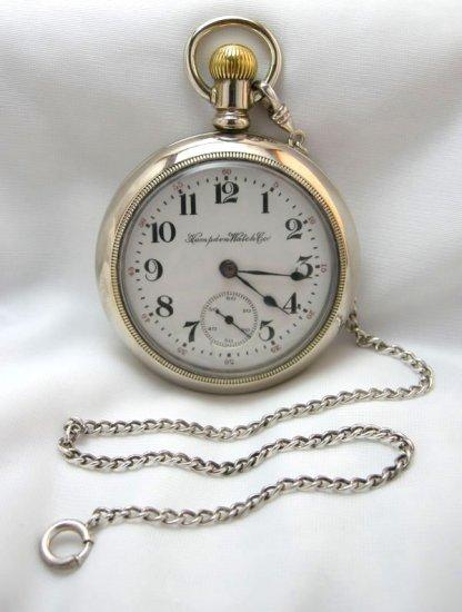 Vintage Hampden Watch Company Men's Pocket Watch 18s 17 Jewel