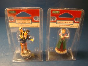 Lemax village collection Bob Cratchit Tiny Tim poly-resin figurine and caroller woman figures