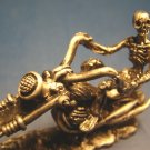 Skeleton motorcycle rider biker cycle figurine pewter metal skull bones Halloween death figure