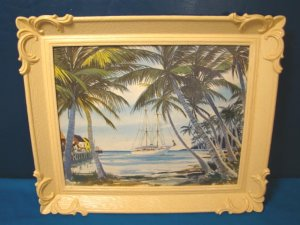 Boat sailboat ship picture palm trees island 1960s tan celluloid color plastic frame S. S. Kresge