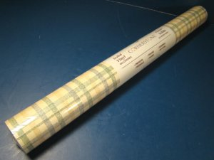 Wallpaper solid vinyl Cornerstone prepasted scrubbable wallcovering green/gold/blue plaid one roll