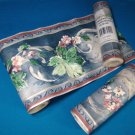 Cornerstone border wallcovering 3579109 floral wallpaper maroon flowers gray blue one roll plus more