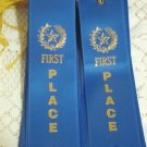 Ribbon award First Place lot of 25 1st prize blue satin with gold star letters and record card