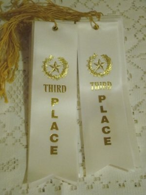 Ribbon award Third Place lot of 25 3rd prize white satin with gold star letters and record card
