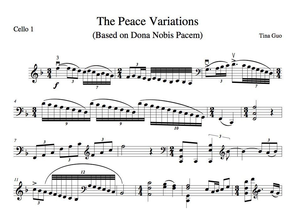 Digital Download: Cello Duet Sheet Music: 'The Peace Variations' by Tina Guo