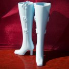 Barbie Model Muse Super High Flower Click On High Heel Square Toe Boots