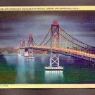 Vintage Postcard Night San Francisco Oakland Bay Bridge San Francisco California Linen Postcards