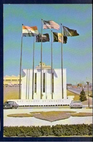 Vintage 1950-1960's Boy Scouts of America Scout Center Flag Plaza Allegheny Trails Council Postcard