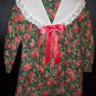 Rose Cottage Girls Size 4 Red & Green Holly Long Sleeve Holiday Christmas Dress
