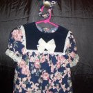 SWAT Girls Size 3T Girls Midnight Blue Velvet & Dusty Rose Floral Christmas Dress with Matching Head