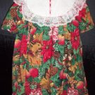 Youngland Girls Size 6 Red & Green Holiday Print Christmas Dress with Lace Collar