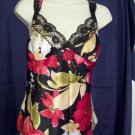 Ladies Large L TG USA Sexy Black & Red Floral Lace Lingerie Top New