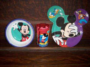 Zak Designs Mickey Mouse Goofy Donald 3 Piece Toddler Childrens Dining Plate Set Cup Bowl Plate