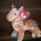 2000 Zodiac Brown and White Horse Ty Beanie Baby with Tag Protector MWMT 8-19-00 Retired 05-29-01