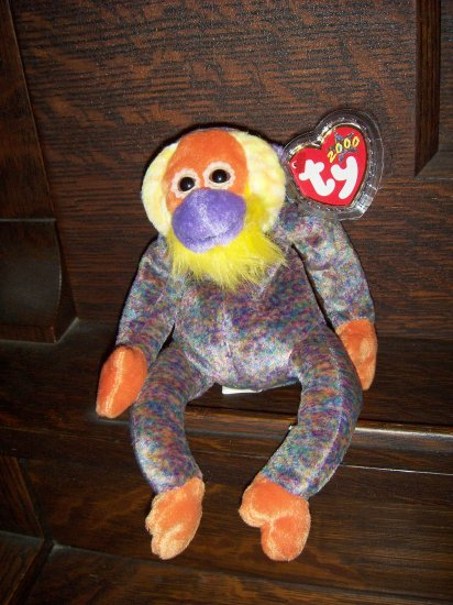 2000 Bananas Orangutan Mint Ty Beanie Baby with Tag Protector MWMT  7/8/00 Retired 6/20/01 New