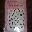 30 Snow Fox 3d Designer Finger Toe Nail Art Manicure Stickers Black White Flowers with Rhinestones