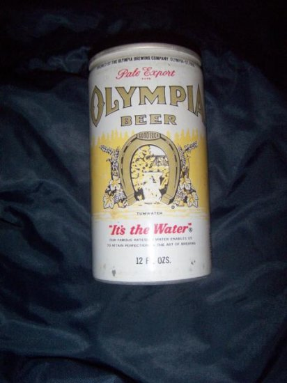 Olympia Pale Ale Export It's the Water Pull Top Top Opened Vintage 1970's Aluminum Beer Can