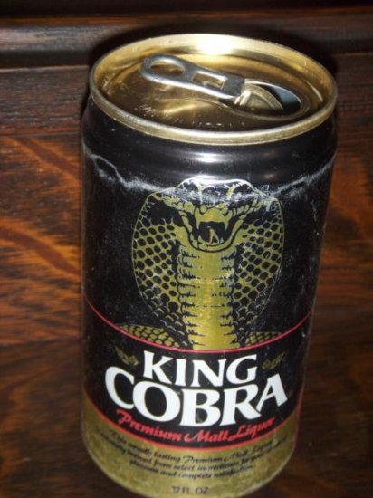 King Cobra Anheuser-Busch Brewing Inc Pop Tab Top Opened 11 City 2 Faced Aluminum Beer Can