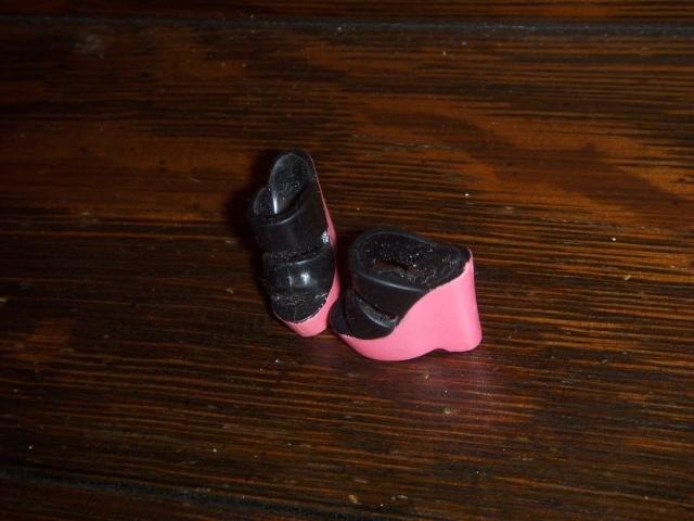 Barbie or Tressy Size PINK Black Open TOE HIGH Heel Wedge Sandal Shoes