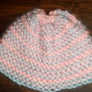 Pink and Blue with Blue Edge Hand Knit Baby Infant Preemie to Newborn Cradle Cap Hat Bonnet