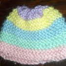 Pink Green Blue Yellow Lilac Colored Layered Hand Knit Baby Preemie to Newborn Cradle Cap Hat Bonnet