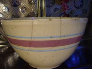Large Primitive Vintage Watt Rare Yellow Ware Bowl Repair Display Rose Aqua Bands