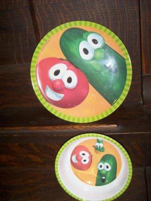 2000 Big Idea Productions Veggie Tales Childrens Plate Bowl Dining Set