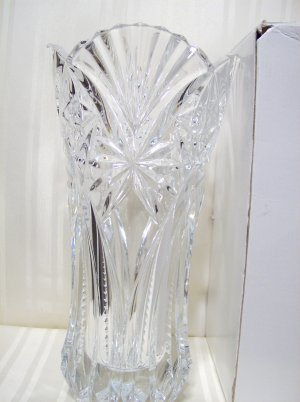 J G Durand France 24 Percent Lead Crystal 12x6 In Vase With Box