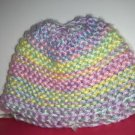 Infant Boys or Girls Hand Knit Baby Bonnet Cap Multi Colored Variegated