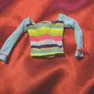 Barbie Fashion Blue Stripped Long Sleeve Shirt with Pink Bows on sleeves