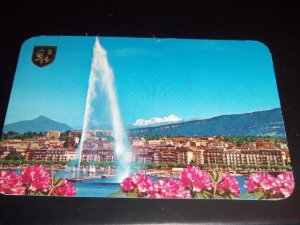 Vintage Geneva The Roadstead Switzerland International Chrome Postcard Helveta stamps