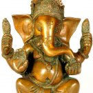 Seated Ganesha with Trident Mark on Forehead