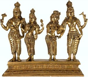 Lord Shiva Accepts Devi Parvati's Hand in Presence of Goddess Lakshmi and Lord Vishnu