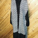 Lotus Trader Flowing Bohemian B/W Open Jacket Duster XL