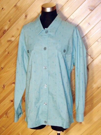 Ulla Popken Blue Floral/Eyelet Jacket Tunic Shirt 16/18