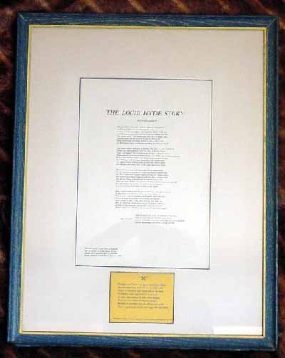 Louie Hyde Lawton U of M Framed Presentation 1958