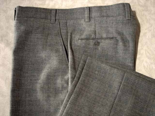 Retro Mens Black/White/Red Glenplaid Pants 42/30.5