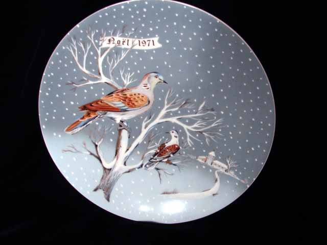 Haviland Limoges Hetreau Xmas 1971 Plate 2 Turtle Doves