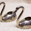 Silver Swan Candle Holder Set