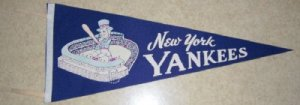 New York Yankees  1950/60's Vintage Felt Pennant