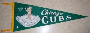 1960's Chicago Cubs  Vintage Felt Pennant